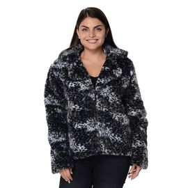 Leopard Print Faux Fur Long Sleeve Winter Coat in Black,White and Grey