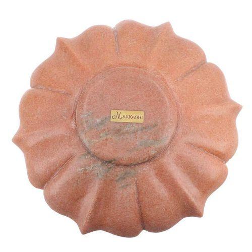 NAKKASHI Hand Carved Floral Design Marble Multi-Purpose Bowl - Pink