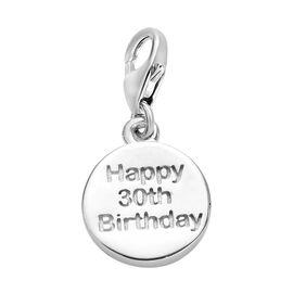 Happy 30 Birthday Charm in Platinum Overlay Sterling Silver