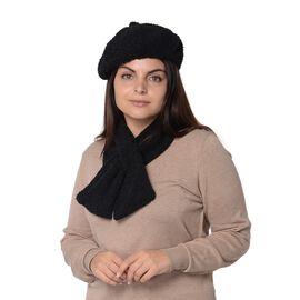 2 Piece Set - Faux Fur Winter Scarf (Size 13x92 Cm) and Hat (Size 56 Cm) - Black