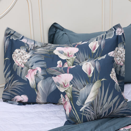 4 Piece Set - Floral Pattern 100% Mulberry Silk Filled Quilt with 100% Cotton Cover, 2 Pillow Cases and Cushion Cover (Size Double) - Indicolite Colour