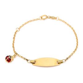 ILIANA 18K Yellow Gold Enamelled Ladybug Charm Bracelet (Size 5.5)