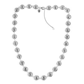RACHEL GALLEY Rhodium Plated Sterling Silver Momento Disc Necklace (Size 20), Silver wt 40.86 Gms.