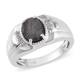 4.87 Ct Meteorite and Zircon Solitaire Ring in Platinum Plated Sterling Silver 6.88 Grams