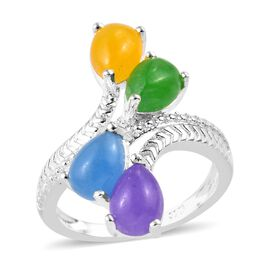 Green, Blue, Purple and Yellow Jade Bypass Ring in Sterling Silver 4.00 Ct, Silver wt 3.00 Gms.