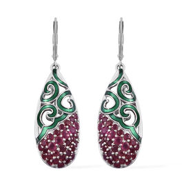 GP AAA African Ruby (Rnd), Blue Sapphire Lever Back Earrings in Platinum Overlay Sterling Silver 4.2