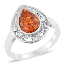 Baltic Amber (Pear) Solitaire Ring in Platinum Overlay Sterling Silver 1.250 Ct.