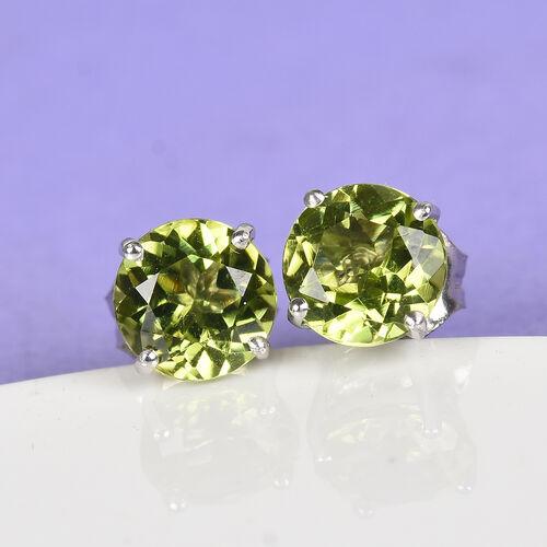 9K Yellow Gold AA Hebei Peridot Stud Earrings (with Push Back) 1.85 Ct.