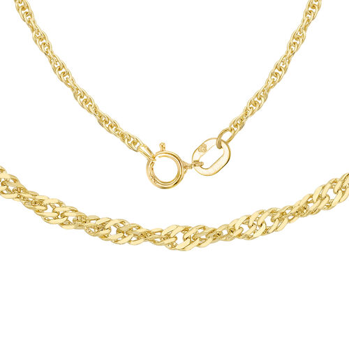 ILIANA 18K Yellow Gold Twisted Curb Chain (Size 16)