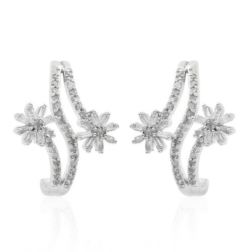 Designer Inspired-Diamond (Rnd and Bgt) Flower Earrings (with Push Back) in Platinum Overlay Sterling Silver 0.500 Ct.