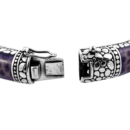 Royal Bali Collection - Purple Coral Bangle (Size 7.5) in Sterling Silver, Silver wt 57.00 Gms