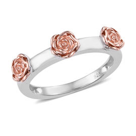 Platinum and Rose Gold Overlay Sterling Silver Rose Ring