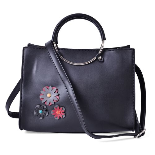 Multi Colour 3D Floral Pattern Black Colour Tote Bag with Adjustable and Removable Shoulder Strap (Size 30x22x17 Cm)
