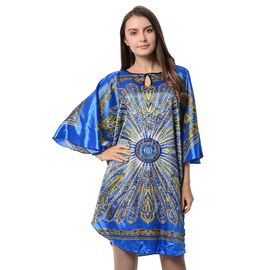 Blue and Multi Colour Floral Pattern Apparel (Free Size)