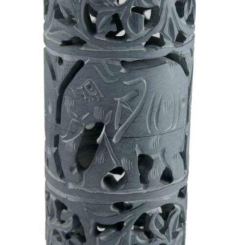 Home Decor - Beautiful Elephant and Filigree Carved Grey Soapstone Incense Pipe (Size 10x2)
