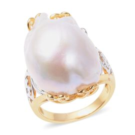 White Baroque Pearl Filigree Solitaire Ring in Two Tone Plated Silver
