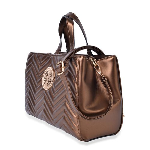 Bronze Colour ZigZag Pattern Tote Bag with Adjustable and Removable Shoulder Strap (Size 33X23X13.5 Cm)