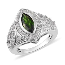 Russian Diopside and Natural Cambodian Zircon Ring in Platinum Overlay Sterling Silver 2.25 Ct, Silv