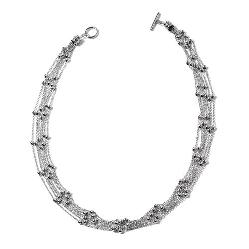 Designer Inspired-Waterfall Multi Row Collar Necklace in Silver Plated (Size 22)