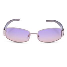LOEWE Ladies Gold Rectangular Sunglasses with Purple Lenses