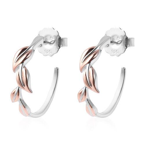RACHEL GALLEY J Hoop Leaf Earrings inTwo Tone Plated Sterling Silver