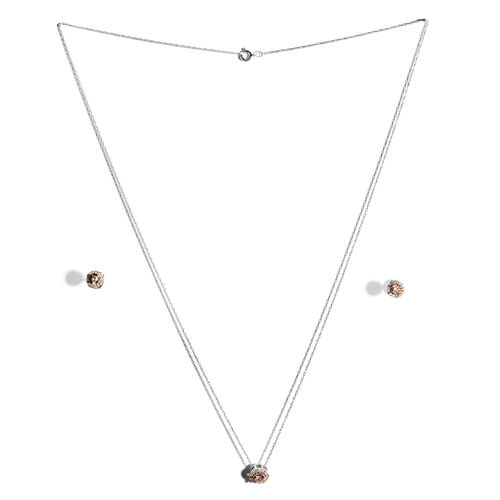 9K Rose and White Gold Diamond (Rnd) (G-H) Pendant with Chain and Stud Earrings (with Push Back) 0.400 Ct.