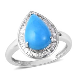 9K White Gold AA Arizona Sleeping Beauty Turquoise (Pear 12x8 mm), Diamond Ring 3.00 Ct.
