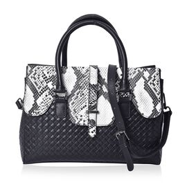 100% Genuine Leather Black and White Snake Skin Pattern Tote Bag with Detachable Shoulder Strap (Siz