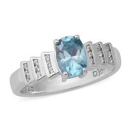 Ratanakiri Blue Zircon and Natural Cambodian Zircon Ring in Rhodium Overlay Sterling Silver 1.37 Ct.