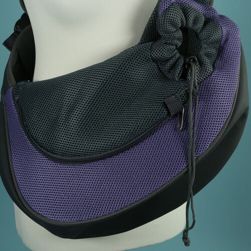 Grey and Purple Pet Bag with Shoulder Strap (Size 43x15x25cm)
