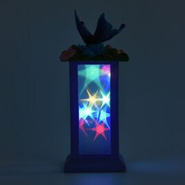 Roman Style Table Lamp with Butterfly and Star Light Pattern (Size 12x12x28 Cm) - Purple and Multi (