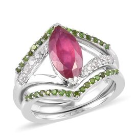 Set of 3 - Russian Diopside, African Ruby and Natural Cambodian Zircon Ring in Platinum Overlay Ster