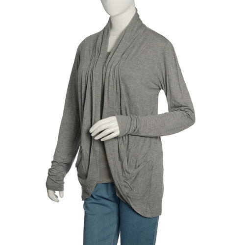 One Time Deal - Silver Grey Colour Waterfall Pattern Cardigan (Free Size)