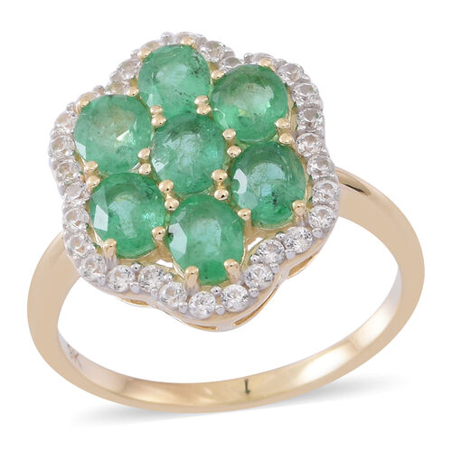 9K Yellow Gold AA Kagem Zambian Emerald (Ovl), Natural White Cambodian Zircon Ring 2.750 Ct.