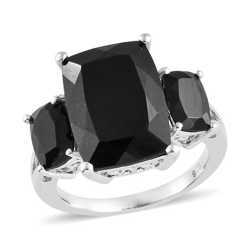 8.25 Ct Black Tourmaline Trilogy Ring in Platinum Plated Sterling Silver