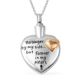 2 Piece Set - Engraved Memorial Son Heart Pendant with Chain (Size 20) and Funnel with Needle in Dua