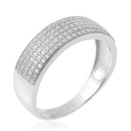ELANZA Simulated Diamond (Rnd) Band Ring in Rhodium Overlay Sterling Silver