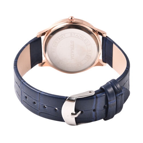 2 Piece Set - STRADA Japanese Movement White Austrian Crystal Studded Watch with Navy Blue Strap and Lapis Lazuli (96.00 Ct.) Beaded Bracelet in Dual Tone