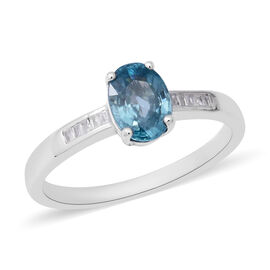 Blue Zircon and Diamond Solitaire Ring in Rhodium Plated Sterling Silver