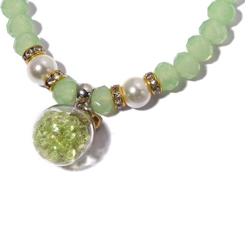 Set of 5- Simulated Emerald, Simulated Pink Sapphire, Austrian White Crystal, Simulated White Pearl and Multi Gemstone Beads Bracelet in Silver and Gold Bond.
