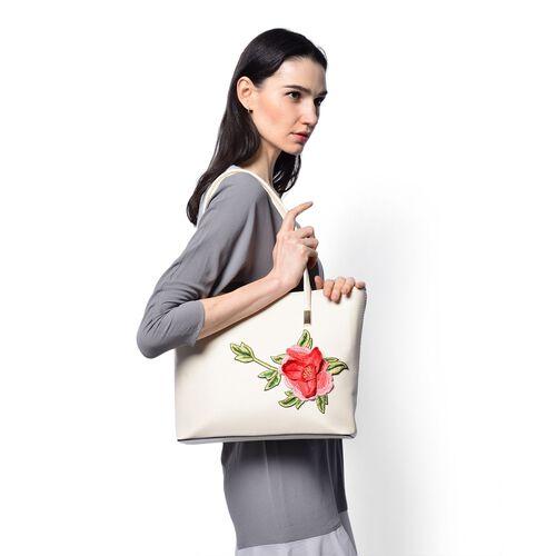 3D Floral Pattern Cream Colour Tote Bag (Size 38x28x8 Cm)