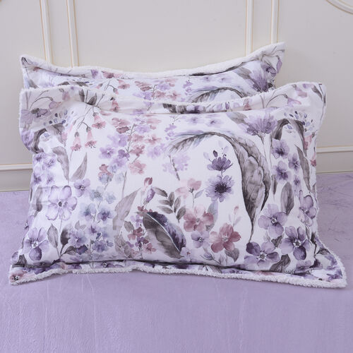 4 Piece Set - Serenity Night White with Multi Colour Floral Print Comforter (220x225cm), Fitted Sheet (140x190+30cm) and Pillow Covers (2 Pcs - 50x70+5cm) - DOUBLE