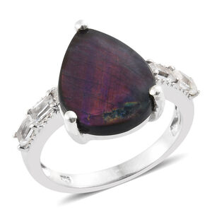 Natural Spectrolite (Pear 4.20 Ct), White Topaz Ring in Platinum Overlay Sterling Silver 4.750 Ct.