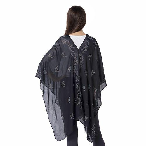 Black Colour Leaf Pattern Crystal Embellished Poncho (Size 80.01x99.06 Cm)
