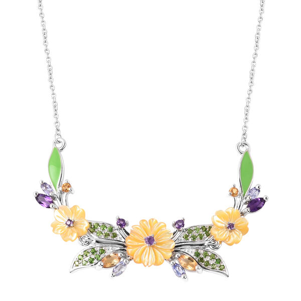 Jardin Collection - Yellow Mother of Pearl, Citrine and Multi Gemstone Enamelled Floral Necklace (Si