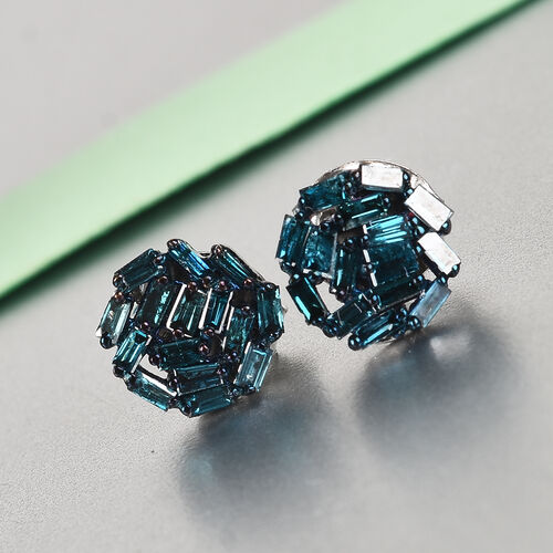 9K White Gold Blue Diamond Cluster Earrings (with Push Back) 0.50 Ct.
