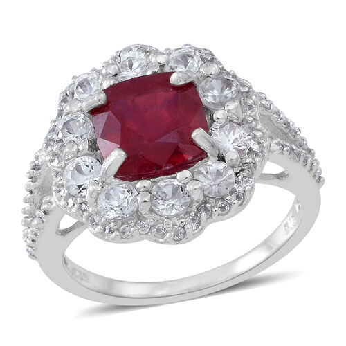 African Ruby (Cush 3.50 Ct), Natural Cambodian  Zircon Ring in Rhodium Plated Sterling Silver 5.000 Ct.No Of Zircons 86