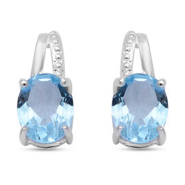 Blue Topaz  Earring  Sterling Silver 3.40 ct  3.400  Ct.