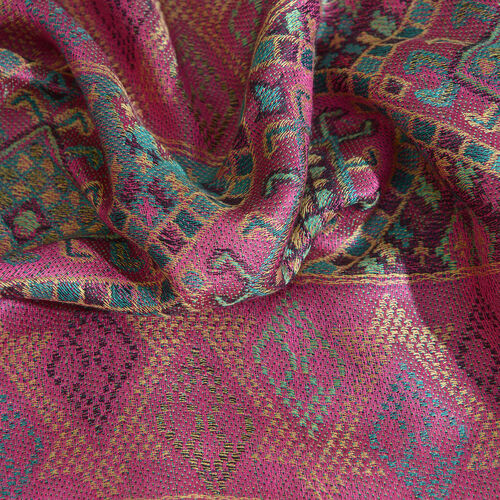Pink, Green and Multi Colour Floral and Leaves Pattern Jacquard Scarf with Fringes (Size 190X70 Cm)