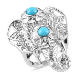 Arizona Sleeping Beauty Turquoise (Rnd) Elephant Head Ring in Platinum Overlay Sterling Silver 1.00